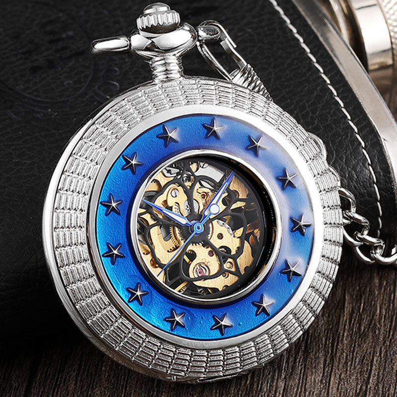 Vintage Silver Steampunk Mechanical Pocket Watch Men Star Surrounded Blue Ring Hand Fob Watch With Blue Roman Numerals For Women