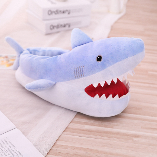 Hot 2019 New Cute Shark Plush Indoor Shoes Toy Warm Winter Adult Shoes Stuffed Cartoon Shoes Valentine Gift for Girls