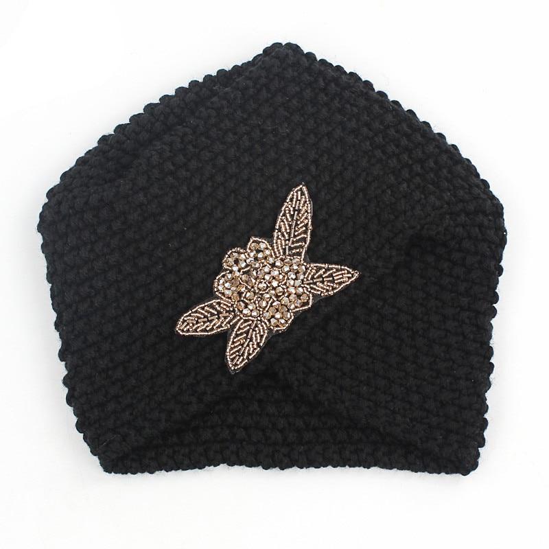 Image 2 - Muslim Winter Turban Hat Warm Print Rhinestone Knit Cap Beanie  Sleep Chemo Turban Headwear Cancer Patients Hair AccessoriesWomens  Hair Accessories