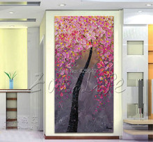 Oil painting On Canvas Wall Pictures Paintings For Entry Way Canvas Wall Art Palette Knife Hand Painted Pink FLower Tree