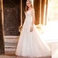 2017 Sexy Vestido De Noiva De Renda Com Decote Em V Lace A Linha de Vestidos de Casamento Com Apliques Botão Vestidos de Noiva Robe De Mariage