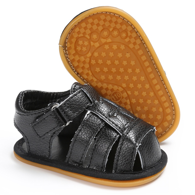 2017-Summer-Sandals-Leisure-Fashion-Girls-Boys-Sandals-For-Children-PU-First-Walkers-Black-Shoes-1