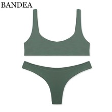 BANDEA brand bikini set sexy swimsuit women solid sport bikini brazilian swimwear thong bikini trajes de bano women KM055