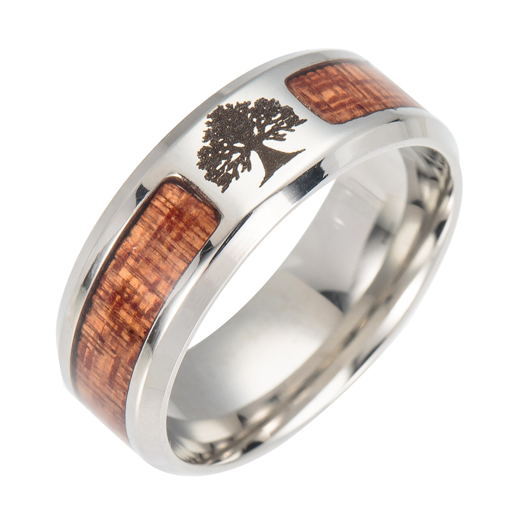 YimYik Stainless Steel Dome Ring Acacia Wood Inlay Wedding