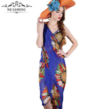 2017 Summer Bohemian Style Women Butterfly Floral Print Chiffon Beach Dress Casual Boho Vintage Sexy Dresses Vestidos LY060