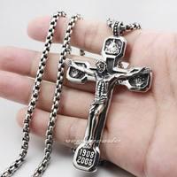Huge Heavy 316L Stainless Steel Jesus Crucifix Cross Pendant 3V001 24