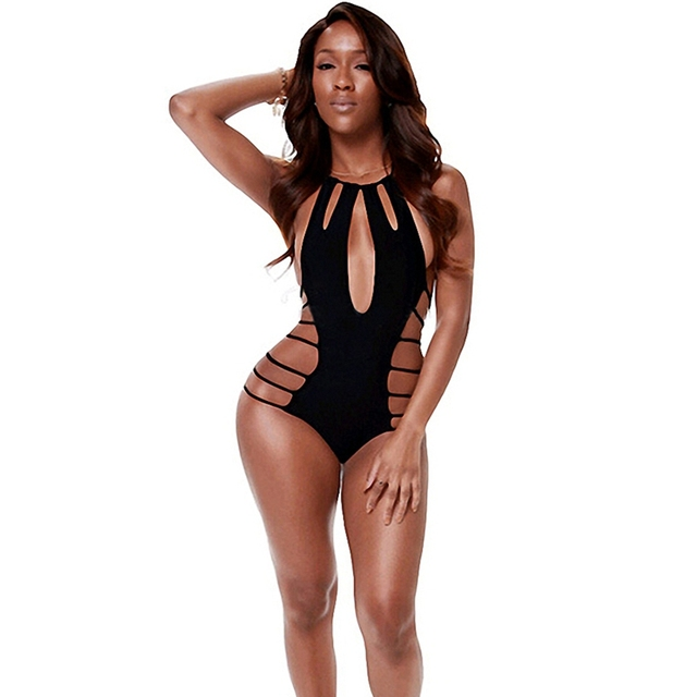 61cb2cb6e2 Spider Web Swinsuit Hollow Out Monokini Black Ladies' Swimwear Women  Swimming Bathing Costume Sexy One Piece Swim Suits
