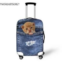 TWOHEARTSGIRL Симпатичные животные кошка Чемодан крышка синей эластичной тележка чемодан пылезащитные крышки применить 18-28 дюймов Путешествия