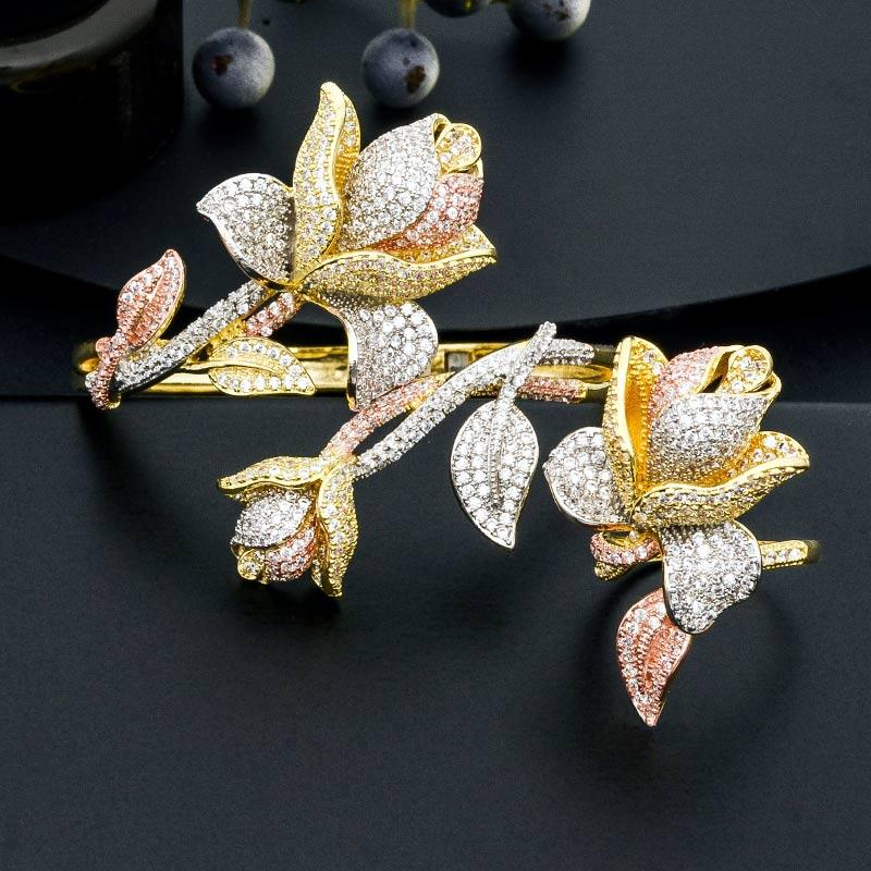 ModemAngel luxe Rose fleur Super brillant AAA cubique zircone 3 tons femmes dubai mariage Bracelet de mariée bracelets bague en cuivre ensemble