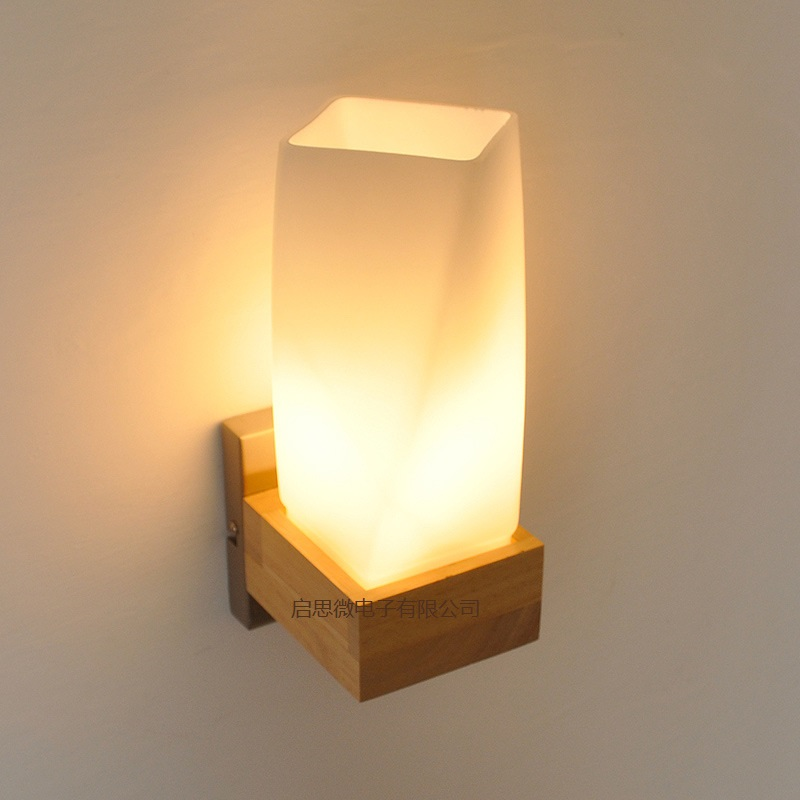 Vintage Wooden Lamparas Wall Lamp Bedroom Glass Light Cabinet Lamparas Applique Home Dec ...