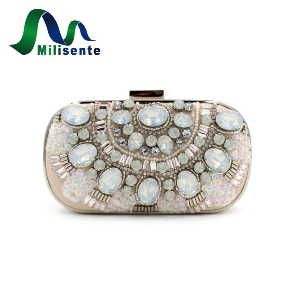 ФОТО New Women Elegant Alloy Beaded Evening Bags Khaki Wedding Purse Lady Party Day Clutches Shoulder Eveningbags Handbags Beige