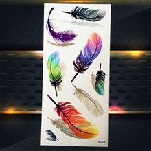 1PC Colorful Indian Feather Pattern Temporary Removable Tattoo Women Makeup Party Tattoo Stickers P3D-03 Fashion Feather Tatto