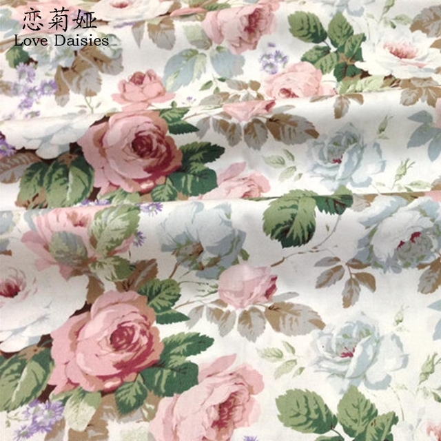 100% cotton twill cloth pastoral pink blue rosae floral DIY for kids bedding cushion clothes dress handwork crafts fabric tissue