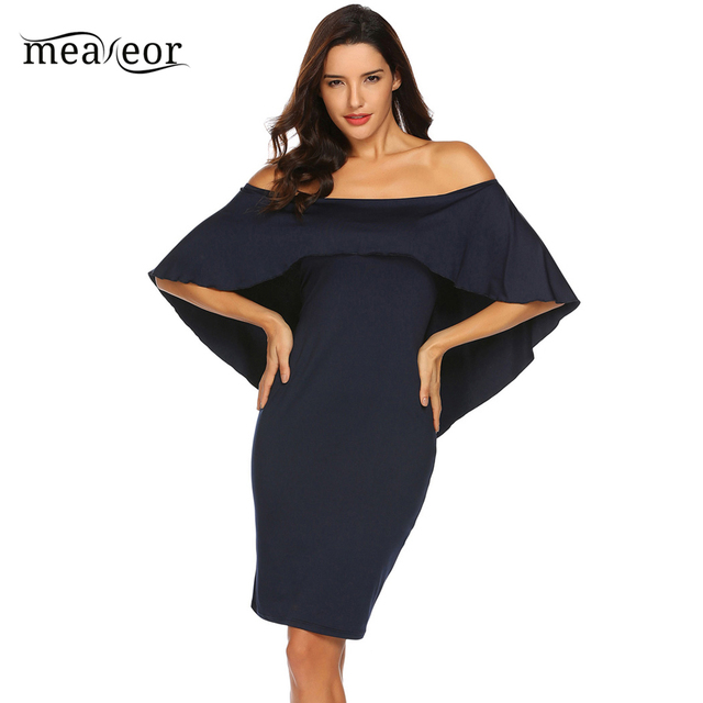 d241438e3993e Meaneor 2018 New Summer Women Slim Fit Sexy Off Shoulder Ruffled Cape  Bodycon Pencil Dress Knee Length Dresses
