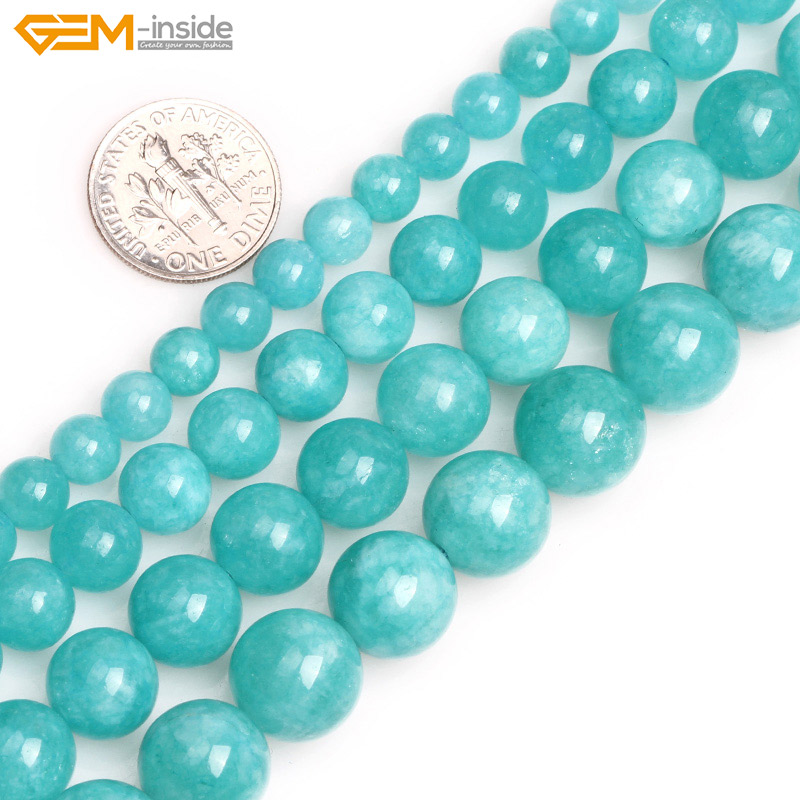 Gem-inside 6-12mm Natural Stone Beads Round Blue Amazonite Loose Beads For Jewelry Making Beads 15 inch DIY Beads New Hot!! 8mm 6 12 color including buddha skull beads elastic string beads set round natural stone beads for jewelry making bracelet diy