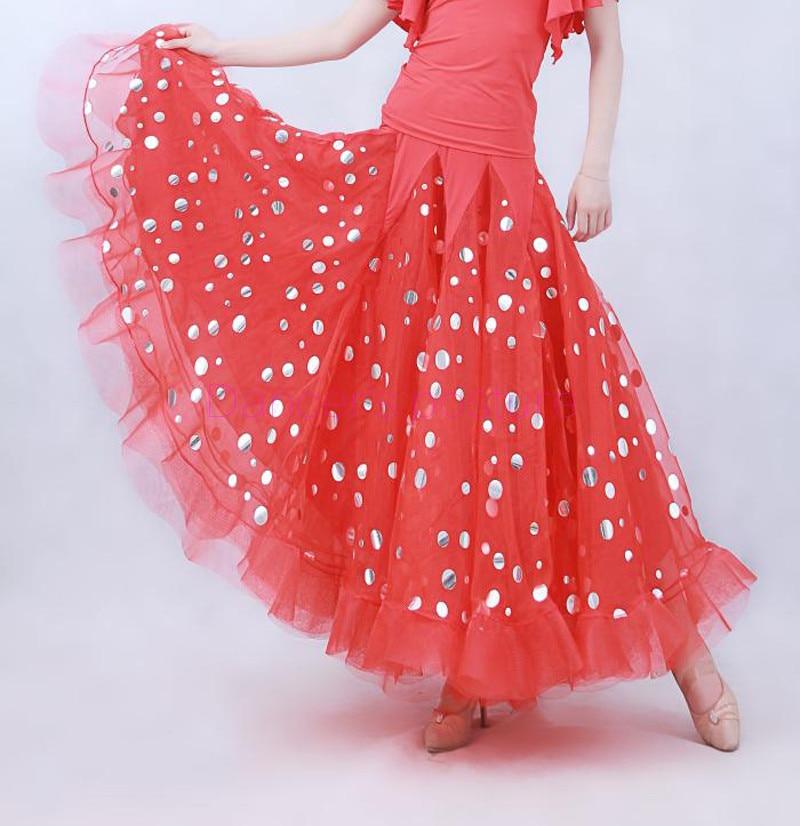 Costumes de danse de salon sexy senior soie de glace met en évidence la longue jupe de danse de salle de bal pour les femmes jupes de compétition de danse de salon