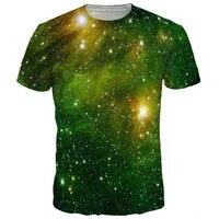 Harajuku Fashion Green Space Galaxy T Shirt Men Women 3d T Shirt Print Nebula Brand Tops