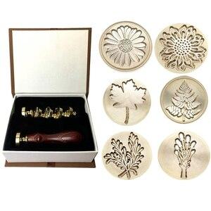 Image 1 - Prezent Moorlando pieczęć woskowa zestaw stempli, 6 sztuk botaniczny pieczęć wosk pieczęć mosiężne głowy + 1Pc drewniany uchwyt z pudełkiem Vintage