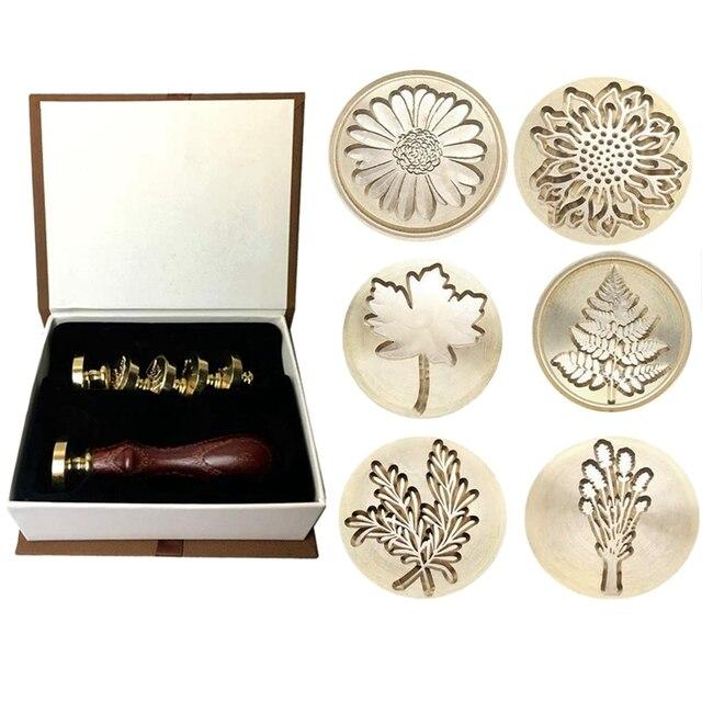 Prezent Moorlando pieczęć woskowa zestaw stempli, 6 sztuk botaniczny pieczęć wosk pieczęć mosiężne głowy + 1Pc drewniany uchwyt z pudełkiem Vintage