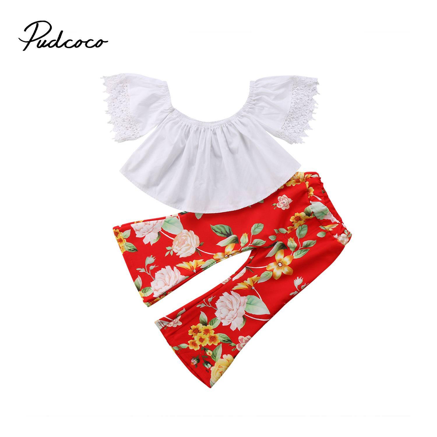 Kids Baby Girls Lace Floral Off Shoulder Top Short Sleeve Shirt Bell-Bottom Legging Outfits Summer Toddler Girl Clothing
