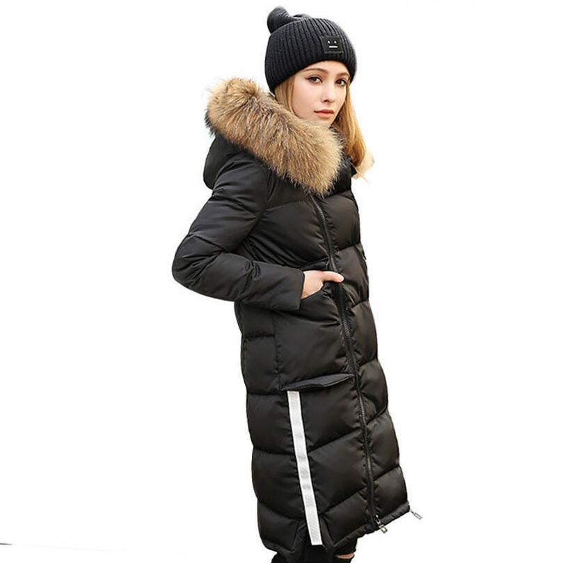2018 new Winter down jacket womens medium-long luxury large fur collar slim white duck down coat outwear s1130