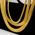 High quality 24K real Gold plated W14MM 76CM long Hiphop Franco Fish Bone Snake Chain Fashion Men statement Necklace Bijouterie