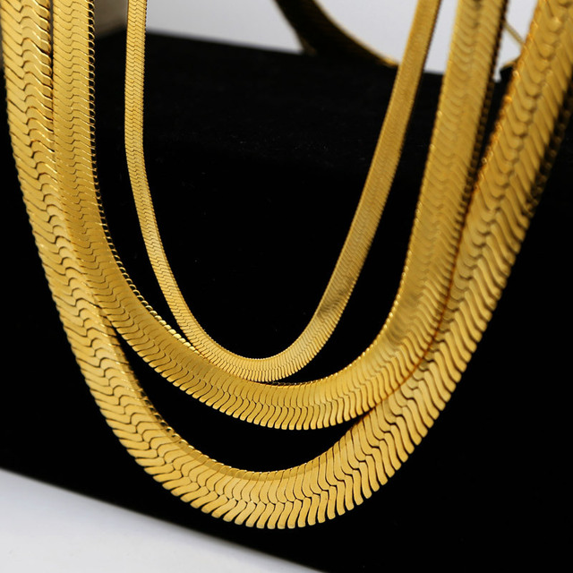 Jhnby High Quality Gold Color Plated W14mm 76cm Long