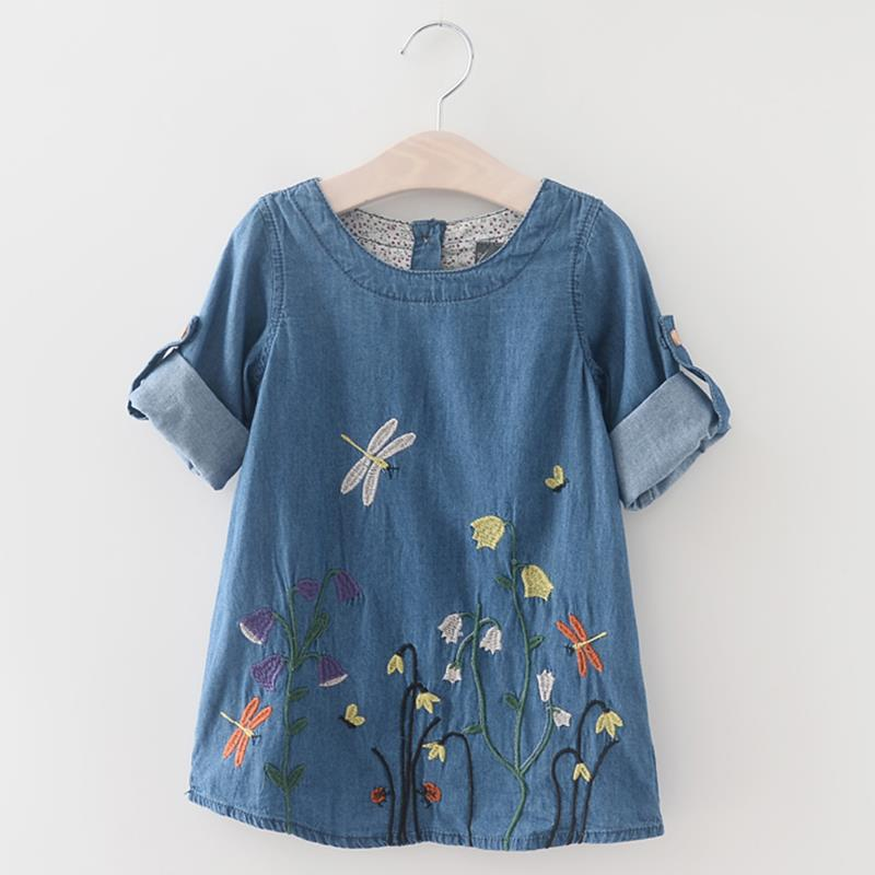 2017 Fashion Baby Girls Kids Denim Dress Children Clothing Spring Autumn Casual Style Girls clothes Butterfly Embroidery Dress 2017 flower girl dress casual daily style kids dress for girls spring baby girl clothes children brand clothing fashion hot sale