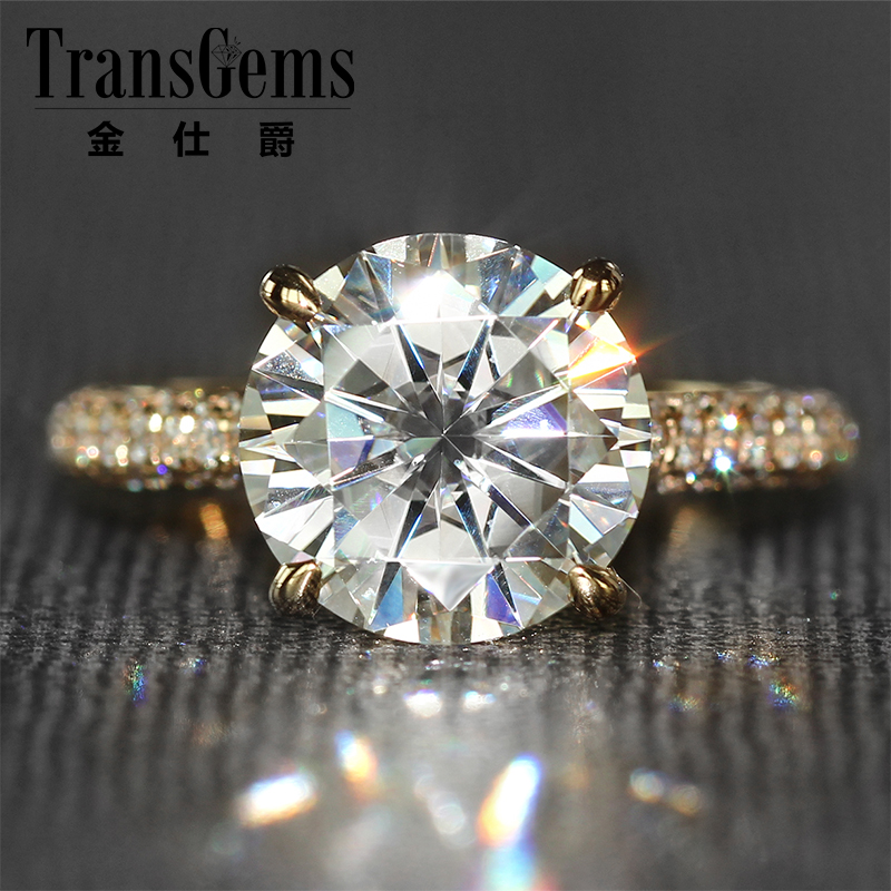 Moissanite Engagemenet Ring 14k 585 Yellow Gold 4 Carat Diameter 10mm FG Color Moissanite Wedding Ring with Accents For Women 3ct moissanite two tones emgagement ring 14k 585 white gold and yellow gold 9mm diameter f color wedding ring for women