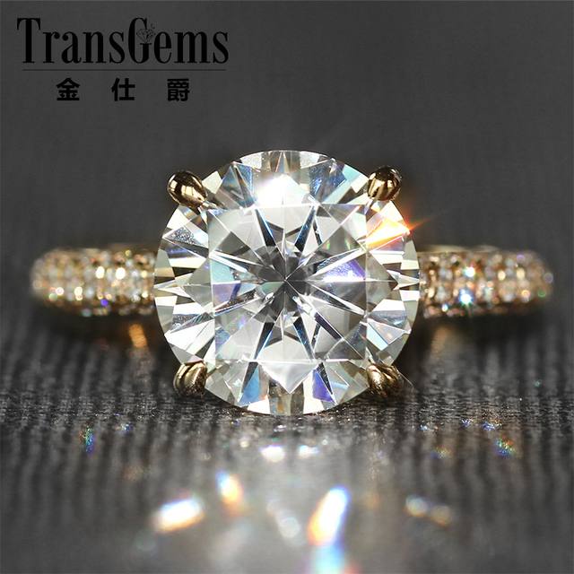 transgems 4 carat lab grown moissanite diamond wedding ring real diamond accents women engagement band solid - Real Diamond Wedding Rings