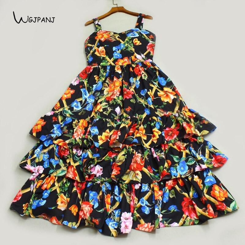 2018 Summer Tiered Dress Black Floral Print Sleeveless Strapless A Line High Quality Runway Design Midi Ruffle Dress Women navy tiered design mini dress