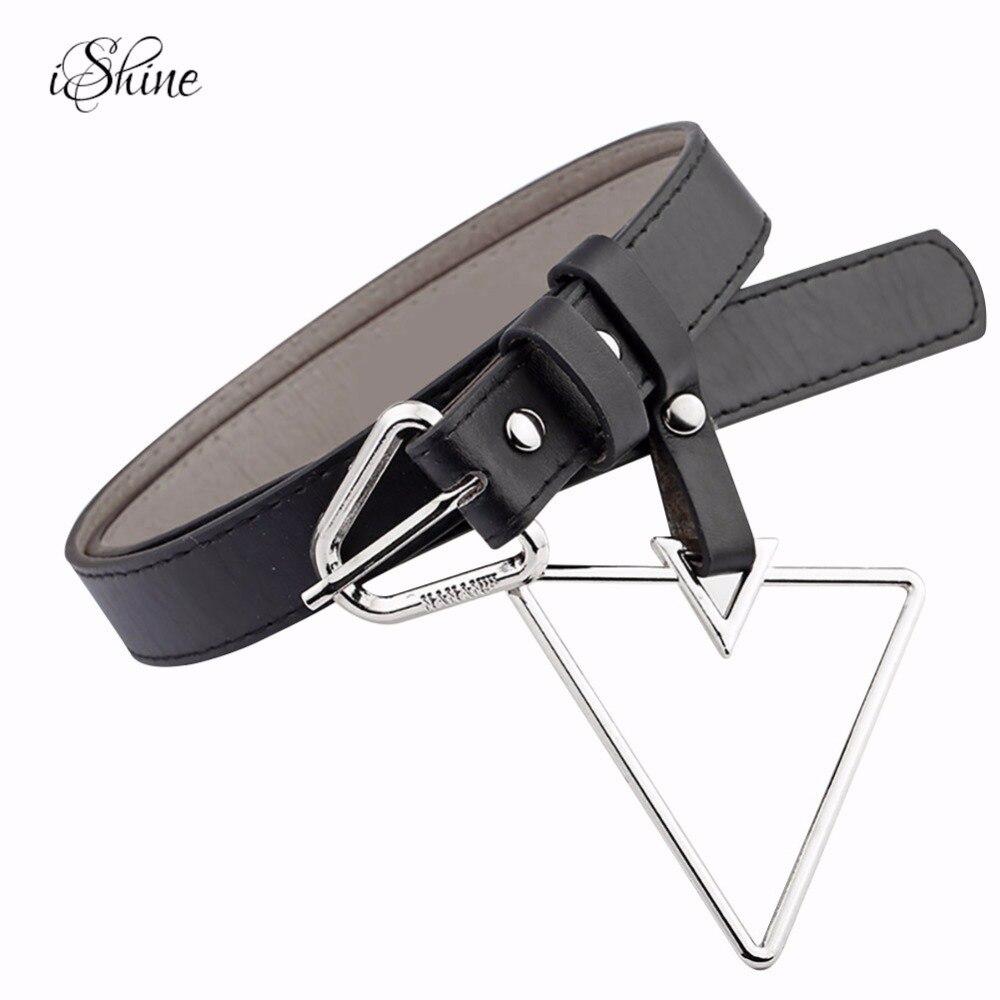 Women Newest Geometric Metal Pin Buckle Waist Belt PU Leather Euramerica Stylish Ladies Waistband Belts for Jeans Dress Shirts