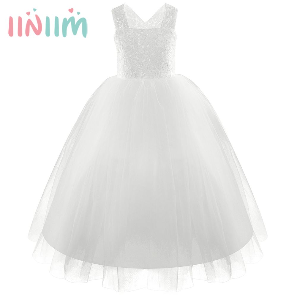 Girls Lace Floral Criss Cross Back Tulle Flower Girl Dress Princess Dresses Elegant Bowknot Wedding Birthday Party Vestido Dress criss cross lace up open back cami dress