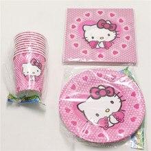 60pcs  много Baby Shower тканей Дети сувениры бумажные тарелки чашки рисунок «Hello Kitty» блюда стекло День Рождения украшения, салфетки поставки