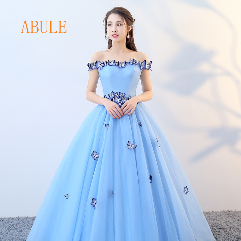 80c04a91e4c48 wholesale Quinceanera Dresses 2018 srtapless lace up blue ball gown prom  dress Debutante Gown 15 Years Layer simple Custom