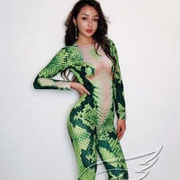 Green Snake Pattern Jumpsuit Female Long Sleeves Stretch Prom Party Bodysuit Women's Singer Dance Nightclub Sexy Cosplay Outfit