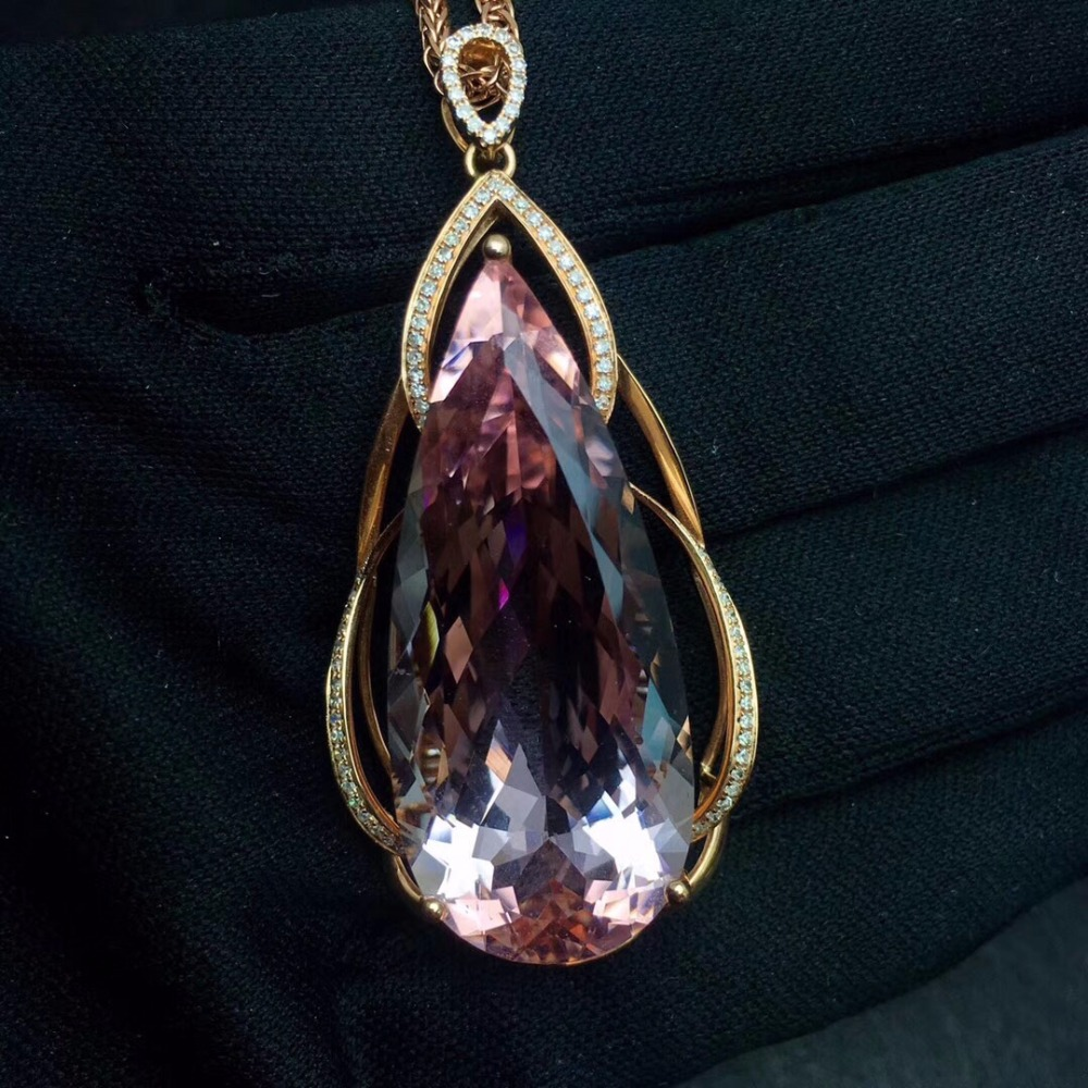 Fine Jewelry Real Pure 18 K Rose Gold Jewelry AU750 100% Natural Morganite Gemstone 35.7ct Pendants for Women Fine NecklaceFine Jewelry Real Pure 18 K Rose Gold Jewelry AU750 100% Natural Morganite Gemstone 35.7ct Pendants for Women Fine Necklace