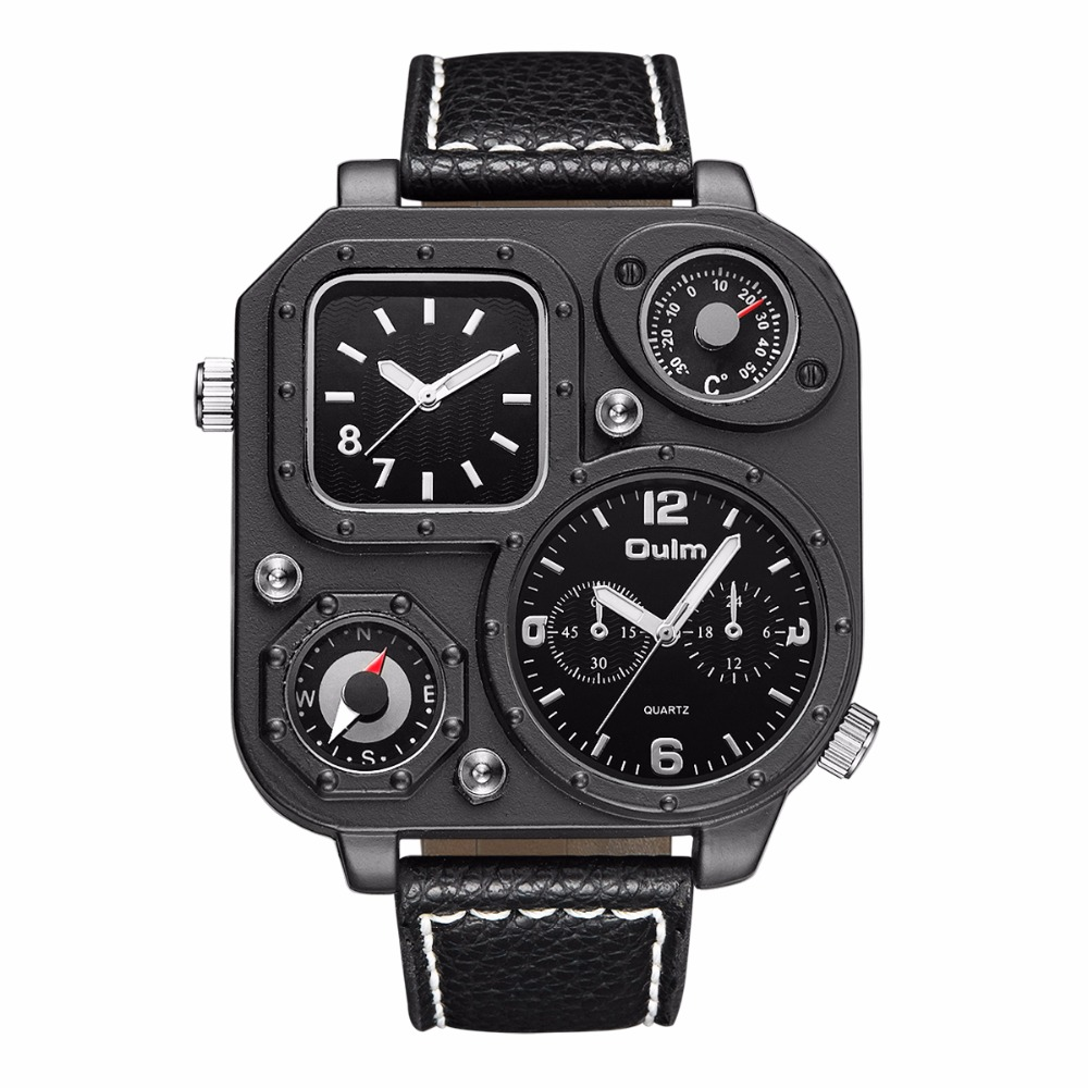 Man watches quarze watch Oulm 1169 High quality leather strap multiple time zone watches