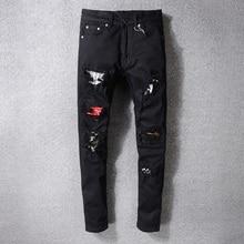 American Streetwear Fashion Men Jeans Black Destroyed Skinny Fit Ripped Jeans For Men Elastic Brand Designer Hip Hop Jeans Homme