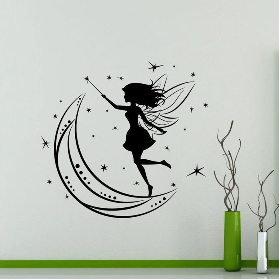 Beautiful Magic Fairy On Moon Girls Room Art Decal Vinyl Wall Stickers Nursery