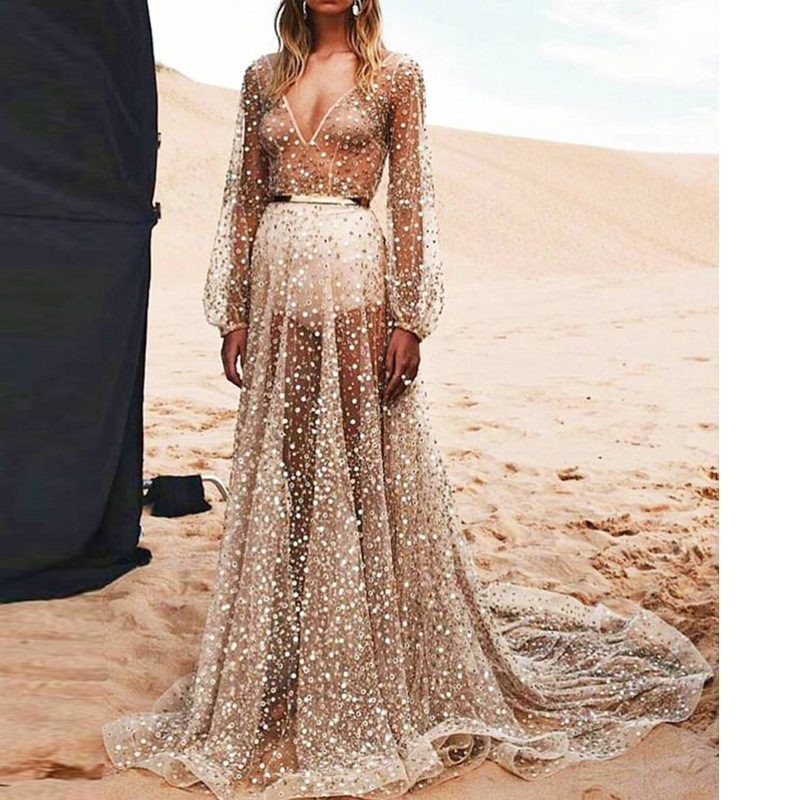 sexy gauze Sequin sheer long sleeve pleated maxi party dress women plus  size spring autumn prom runway club ball gown tutu dres 9a6c62166a64