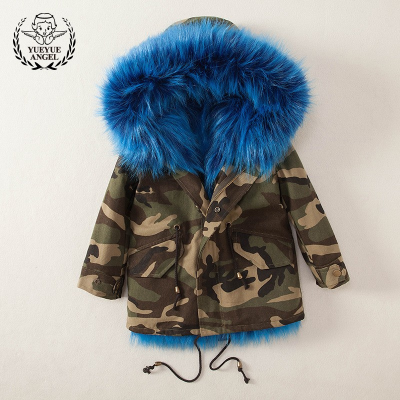 High Quality Baby Girl Coats Fashion Splice Faux Fur Childrens Hooded Outwear Jacket 2018 New Winter Warm Child Jacket 100-160CM winter men jacket new brand high quality candy color warmth mens jackets and coats thick parka men outwear xxxl