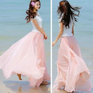 Hirigin Women Layer Chiffon Pleated Long Maxi Skirt
