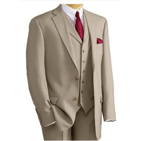 HB071 2017 Custom Made Beige Brown Classic Men Suit Formal Slim Fit Suits Custom Blazer 3 Pieces Men Suits (Jacket+Pants+Vest)