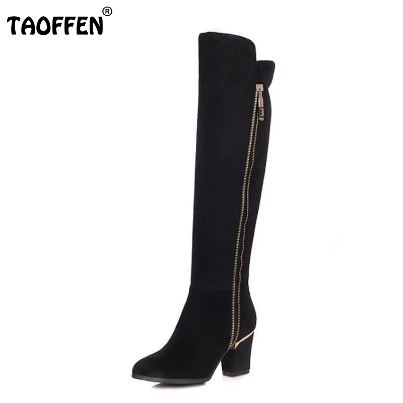 TAOFFEN Women Natural Real Leather Knee Boots Winter Boots Sexy Square Heel Pointed Toe Zipper Women Boots Bota Shoes Size 34-39 platform square heel half short real leather boots women fashion round toe zipper shoes lace up female bootie size 34 39