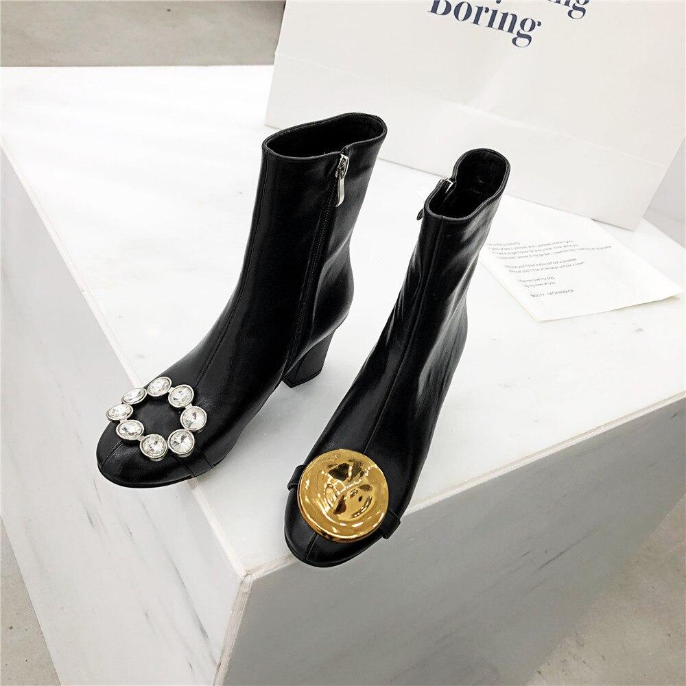 Plush Pour Sexy short En Muyisexi Véritable Chaussures Taille Noir Plus Jd08 Inside Cheville Cuir De La No Marque Dames Talons Inside D'hiver Hauts Bottes Femmes 5qwgtnH18
