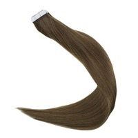 Full Shine Tape On Hair Solid Light Brown Color #8 100% Remy Human Hair Tape in Hair Extensions Skin Weft Hair Adhesive Tape ins