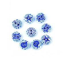 50 Случайных Смешанных 2 отверстия печати синий навигации деревянные пуговицы 15 мм диаметр. Швейные инструменты Diy аксессуары для одежды F0595F