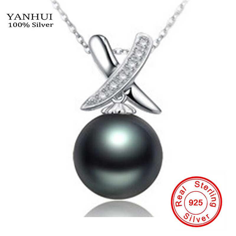 YANHUI Настоящее оригинальное ожерелье из стерлингового серебра 925 пробы натуральный пресноводный черный жемчуг кулон свадебное ожерелье для женщин NG07