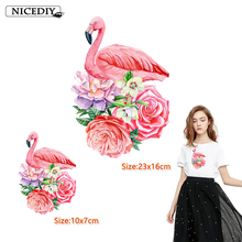 Nicediy Cute Flamingo Patches Clothing Applications Flower Heat Transfer Stickers Applique on Clothes DIY T-shirt Print Washable